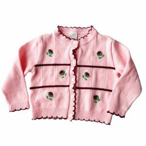 Vintage Pink Embroidered Rose Scalloped Cardigan